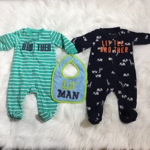 CARTERS One Piece Sleepers Little Brother 3 mos
